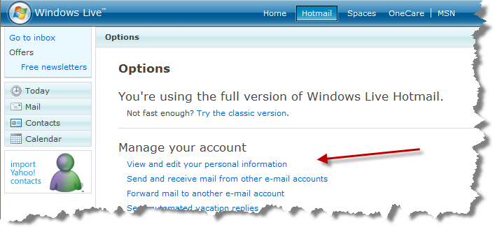 Windows Live Hotmail More Options highlighting the View and Edit Personal Information link