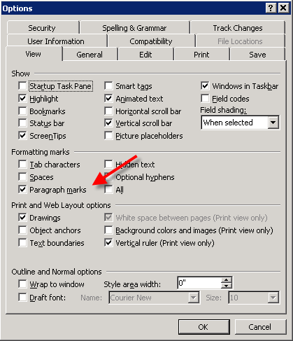 Word's Tools-Options-View dialog