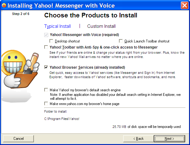 Yahoo Instant Messenger Custom Install Options