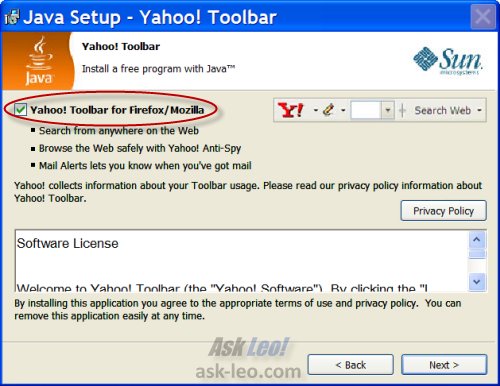 Optional Yahoo Toolbar installation in Java Update