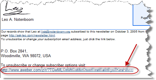 Aweber link at the end of a newsletter