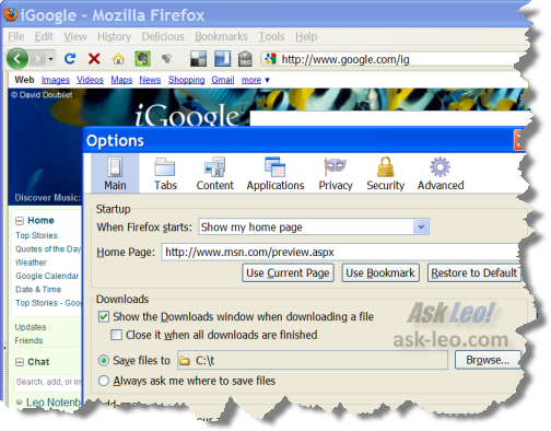 Setting the a home page in Firefox