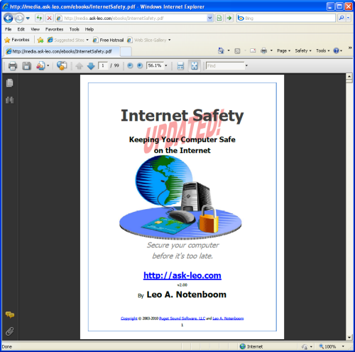 Adobe Reader opened on a document inside of Internet Explorer