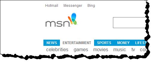 Internet Explorer, full-screen, opened on http://msn.com