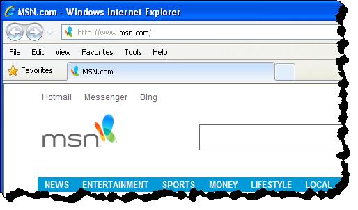 Internet Explorer with Menu Bar