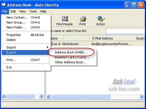 Exporting the Windows Outlook Express address book