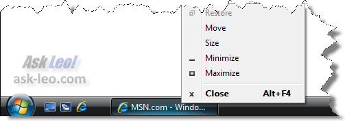 Right clicking on a running program in the taskbar in Windows Vista