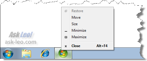 Shift Right clicking on a running program in the taskbar in Windows 7