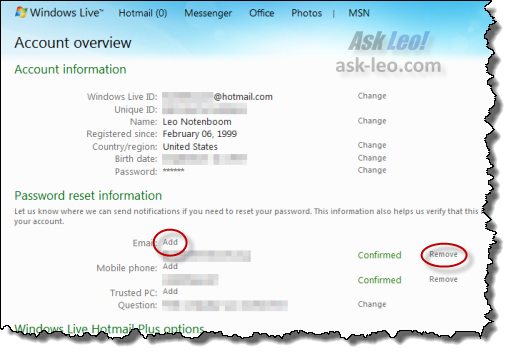 Hotmail account overview, highlighting the add/remove links for alternate email addresses