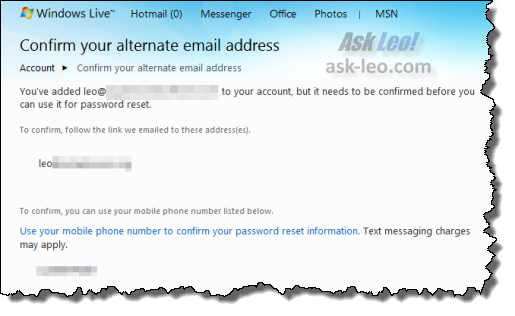 Hotmail indicating that your alternate email addition needs to be confirmed