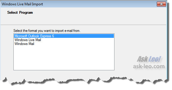 Windows Live Mail import format selection