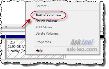 Extend Volume option on C: drive