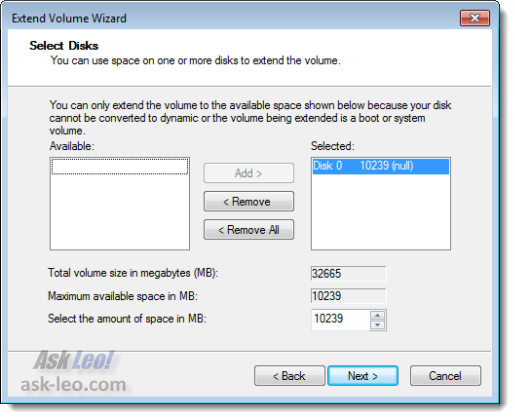 Extend Volume section dialog