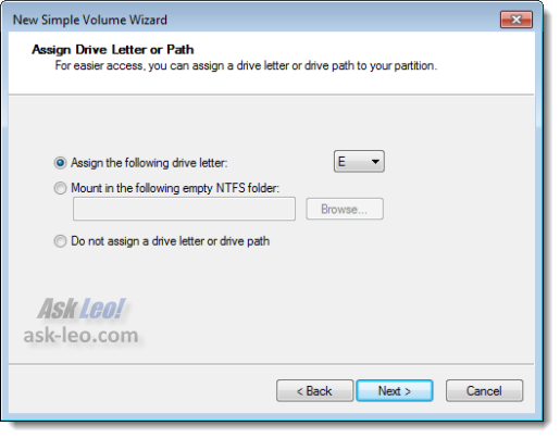Specify the drive of the new partition