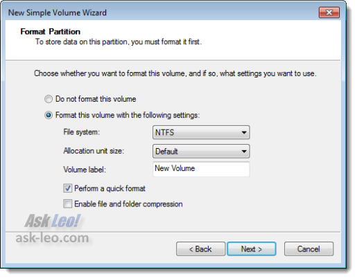 Specify the format of the new partition