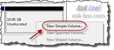 Create a New Simple Volume out of unallocated space