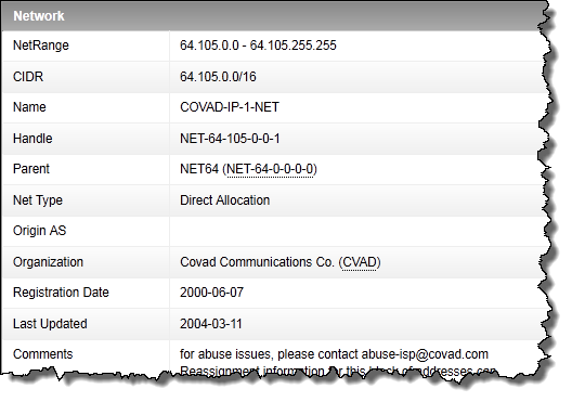 whois lookup of an IP address