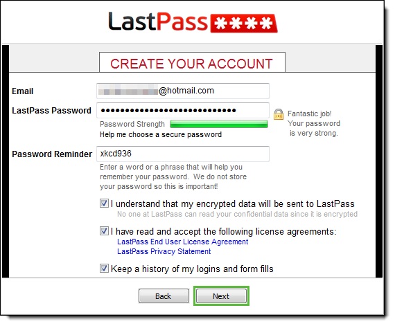 LastPass create account