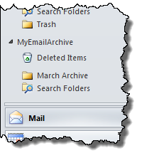 Outlook displaying the new folder in our new PST