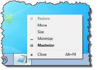 Application System Menu on the Task Bar