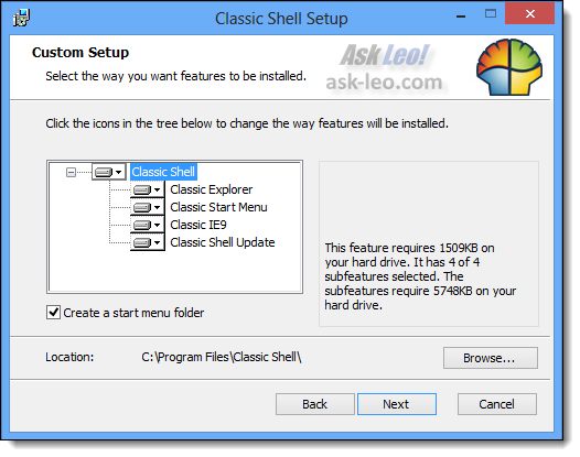 Classic Shell Setup