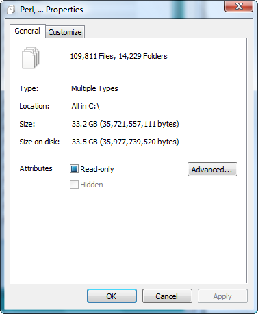 Properties of All Files selected in C: