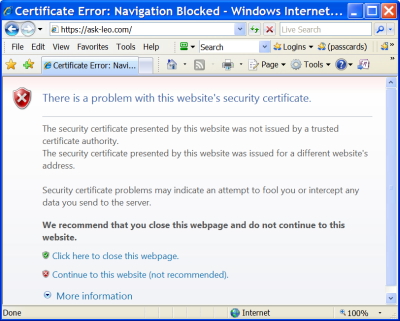 Certificate Error as displayed by IE7