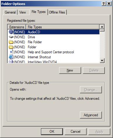 Folder Options, File Types tab