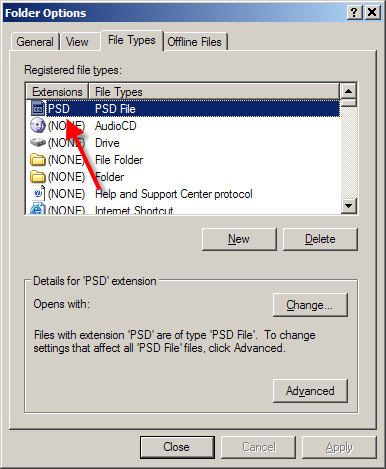 Folder Options, File Types tab with new entry