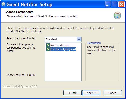 GMail Notifier Installation Options