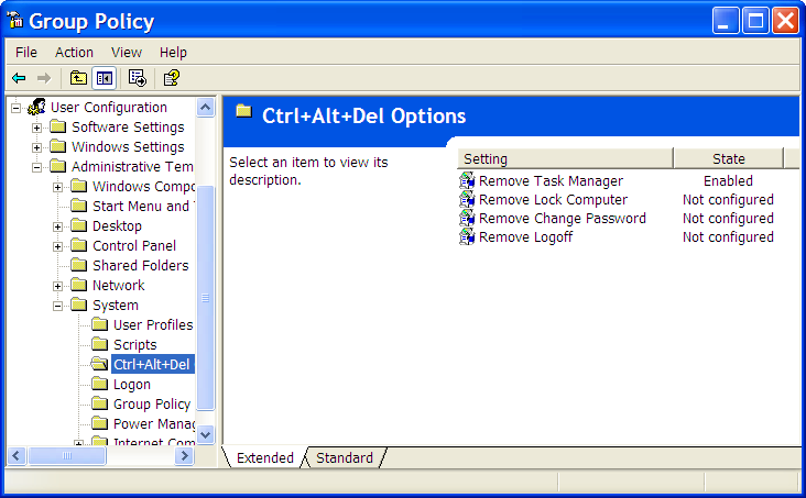 Group Policy Editor, Ctrl+Alt+Del Options