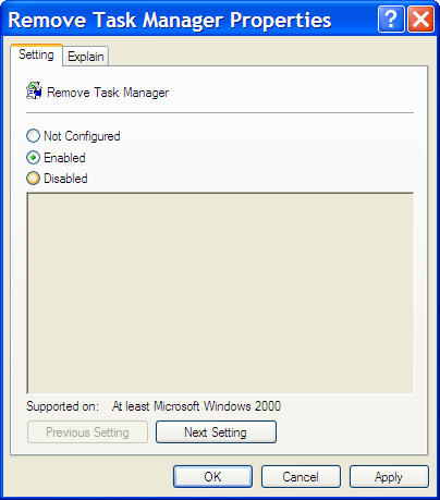 Remove Task Manager setting