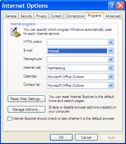 Internet Options - Programs Tab