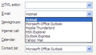 Internet Options - Programs Tab - E-mail list dropped down