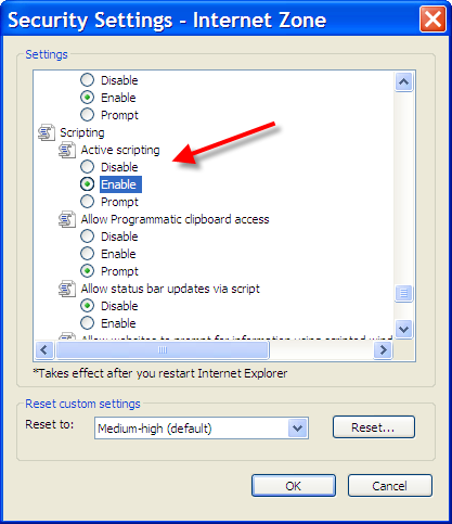 Security Settings highlighting Active Scripting option