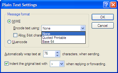 Plain Text Settings