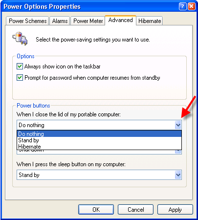 Control Panel - Power Options - Advanced Tab - Selecting Do nothing
