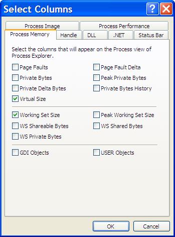 Process Explorer Column Selection