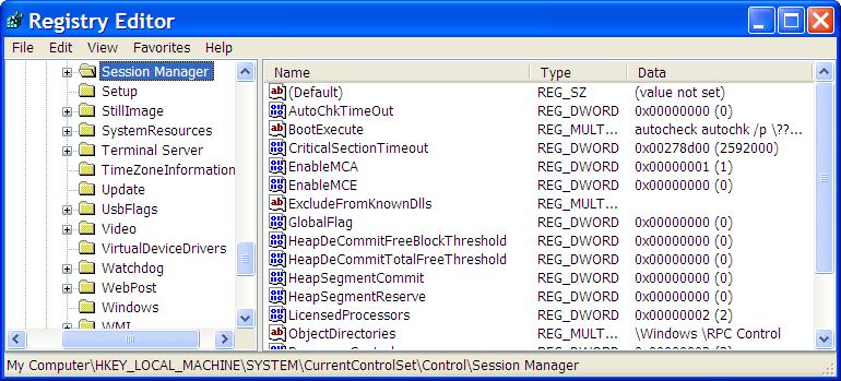 Registry Editor open on HKEY_LOCAL_MACHINESYSTEMCurrentControlSetControlSession Manager