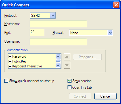 SecureCRT Quick Connect Dialog