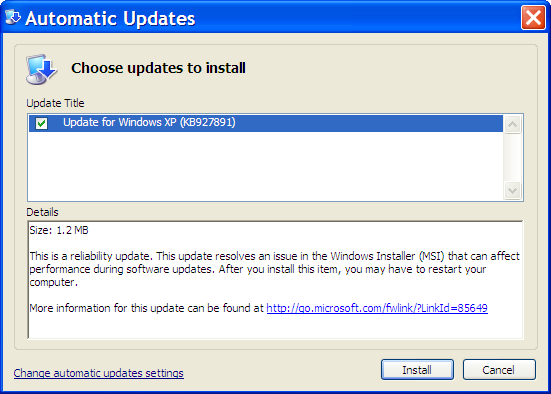 Automatic Update Install of KB927891
