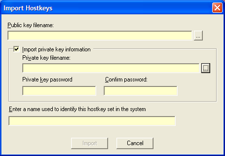 Webdrive Hostkey Import dialog